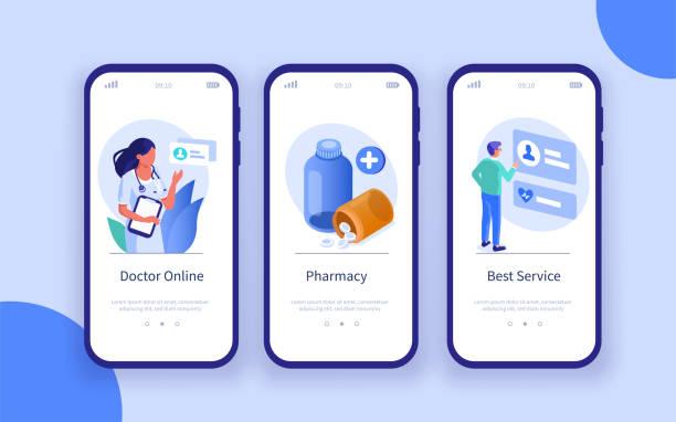 illustrazioni stock, clip art, cartoni animati e icone di tendenza di striscioni sanitari - farmacia