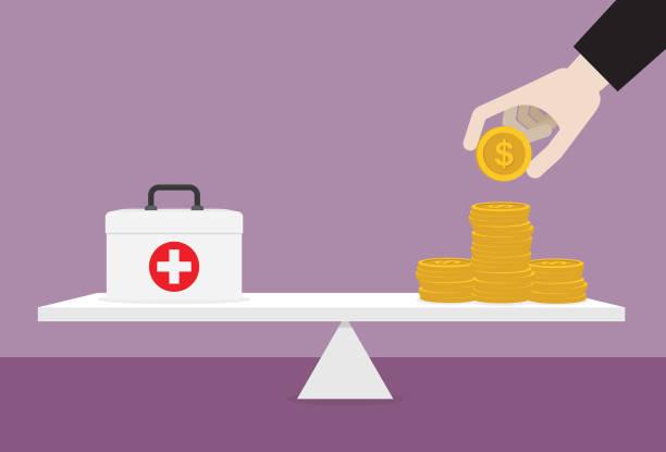 illustrazioni stock, clip art, cartoni animati e icone di tendenza di healthcare box and stack of money on the lever - balance graphics