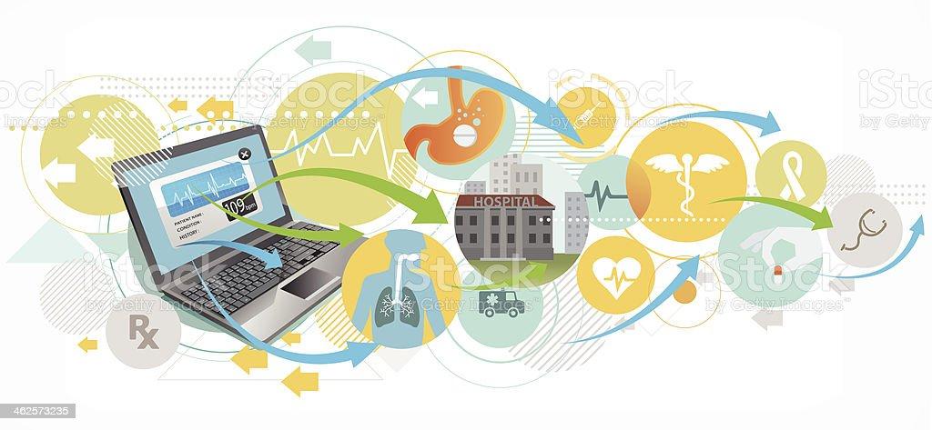 Healthcare by internet vector art illustration
