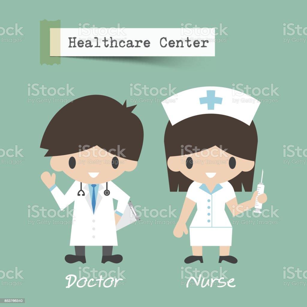 Ilustración De Centro De Salud Médico Y Enfermera De