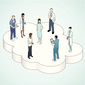 Medical professionals on a technology cloud.