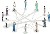 12 healthcare professionals stand on a circos diagram, or a circular relationship graphic.