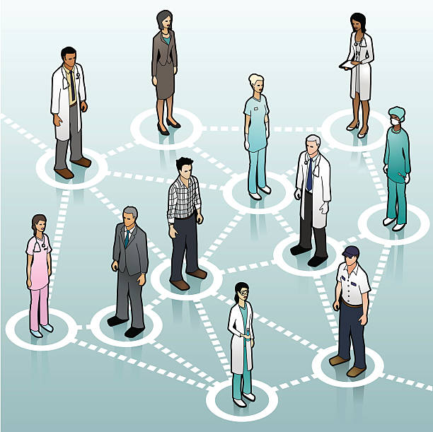 Healthcare Communication Network vector art illustration
