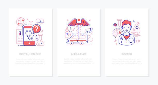 Healthcare concept - line design style banners set vector art illustration