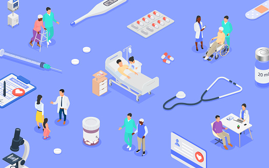 Healthcare concept. Medical consultation, disease prevention and treatment of patients of different ages in the clinic.
