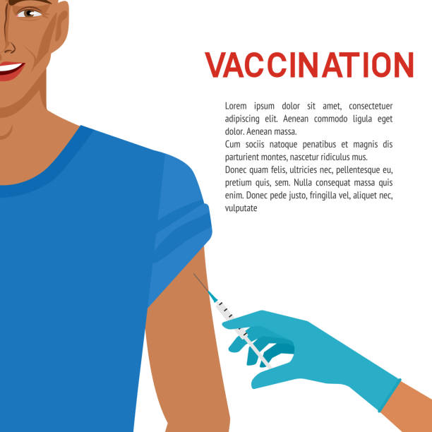 illustrations, cliparts, dessins animés et icônes de concept de soins de santé. homme de sourire obtenant le vaccin - vaccin enfant