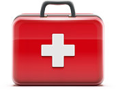 Vector illustration of healthcare concept with first aid box icon.