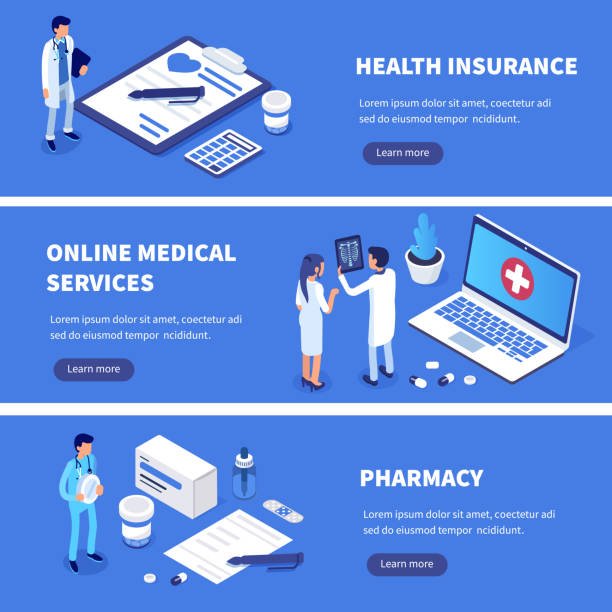 Healthcare concept Medical services banners set with character. Can use for web banner, infographics, hero images. Flat isometric vector illustration. pharmacist stock illustrations