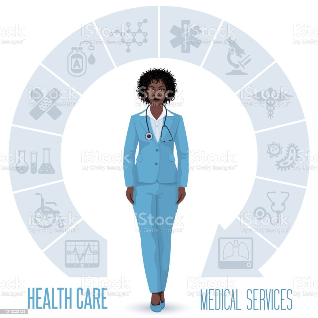 Healthcare concept with dark skin woman doctor vector art illustration