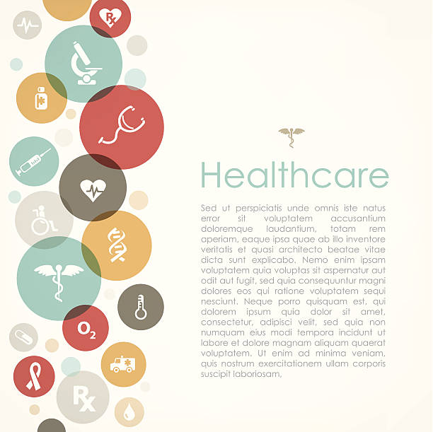Healthcare copyspace Healthcare copy space with medical related design using icons. You can remove text and and use test as you want. hospital background stock illustrations