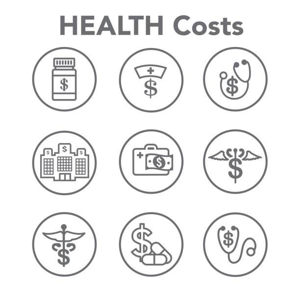 gesundheitskosten und kosten zeigt konzept der teure gesundheitsversorgung - geschäftliche aktivitäten stock-grafiken, -clipart, -cartoons und -symbole
