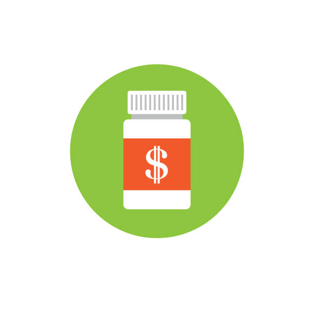 Healthcare costs and expenses showing concept of expensive health care Healthcare costs and expenses showing concept with pill bottle generic drug stock illustrations