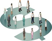 Medical professionals standing on a dollar sign.
