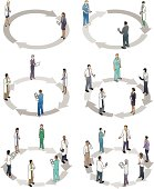Healthcare professionals standing on circular arrow diagrams. Choose from cycles with 2, 3, 4, 5, 6 or 7 steps.