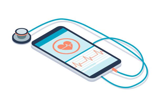 healthcare diagnostics app - telemedicine stock illustrations