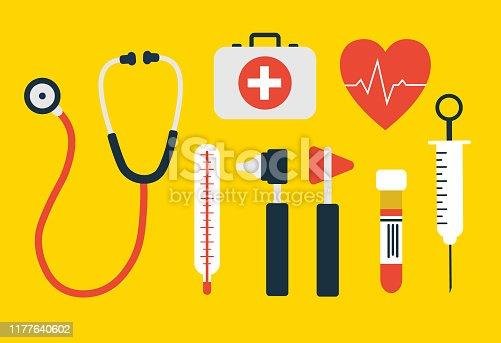 Healthcare doctor objects set. Vector illustration. For you design or logo.