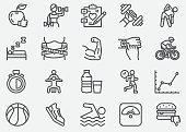 Healthcare Fitness And Exercising Line Icons