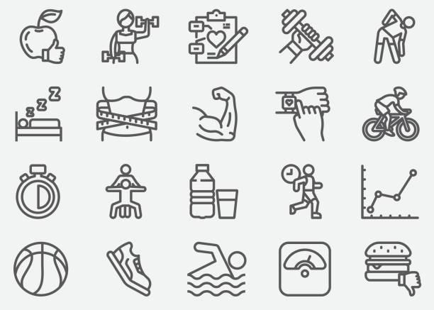 bildbanksillustrationer, clip art samt tecknat material och ikoner med hälso-och motions linje ikoner - armbandsur