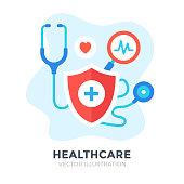 Healthcare. Flat design. Medical care, medicine, health insurance, hospital concepts. Vector illustration