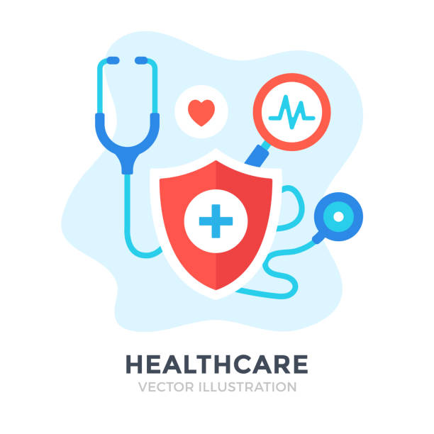 Healthcare. Flat design. Medical care, medicine, health insurance, hospital concepts. Vector illustration Healthcare. Flat design. Medical care, medicine, health insurance, hospital concepts. Vector illustration medical technical equipment stock illustrations