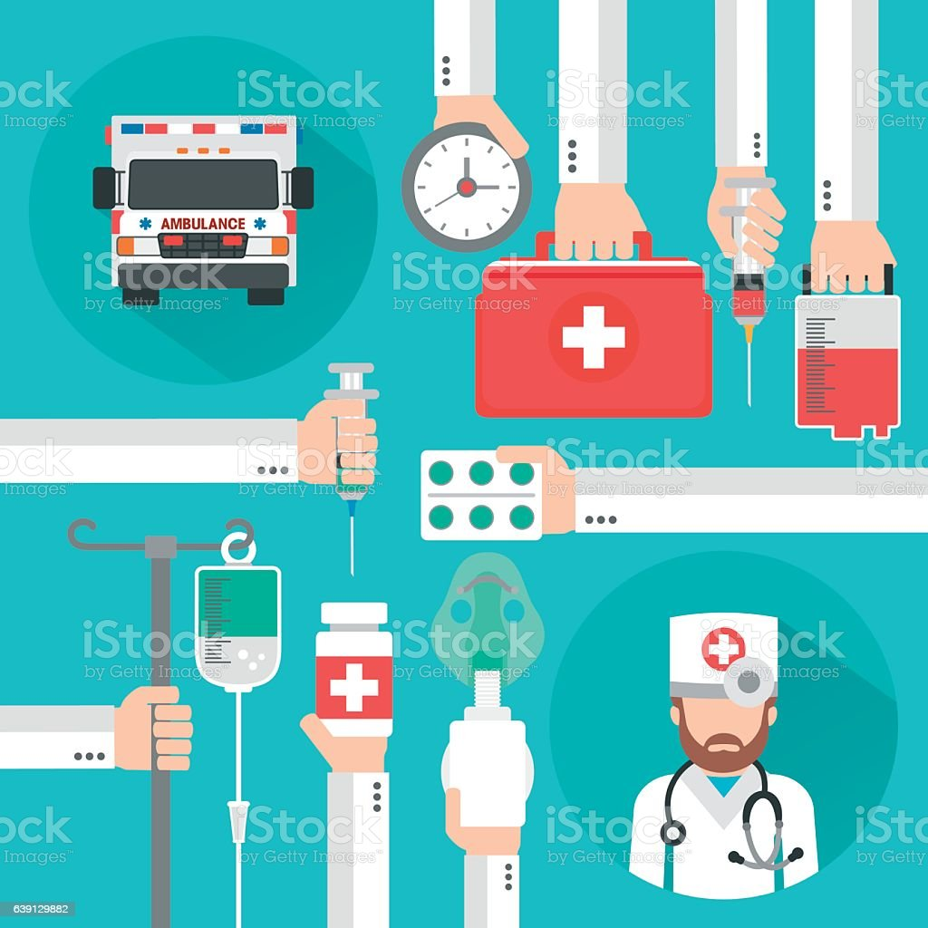 Healthcare flat design with ambulance and doctor vector art illustration
