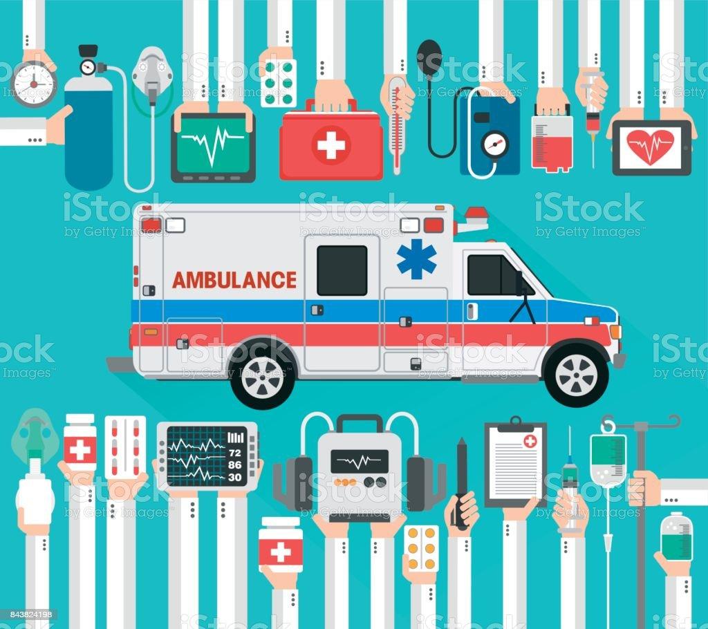 Healthcare flat design with ambulance car vector art illustration