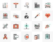 Flat line icons set of medical center, healthcare elements. Unique color flat design pictogram with outline elements. Premium quality vector graphics concept for web, logo, branding, infographics.