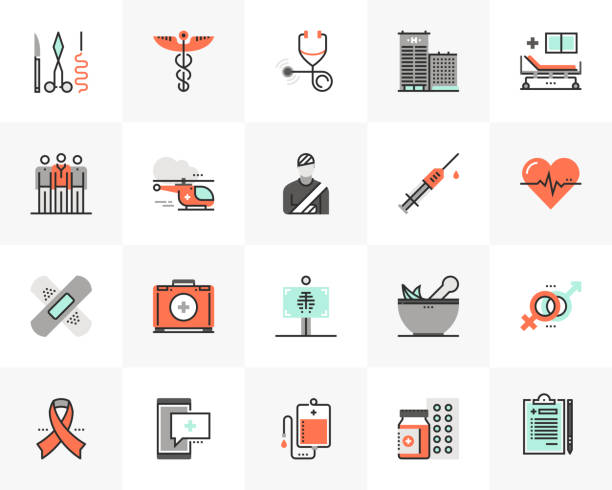 Healthcare Futuro Next Icons Pack Flat line icons set of medical center, healthcare elements. Unique color flat design pictogram with outline elements. Premium quality vector graphics concept for web, logo, branding, infographics. medical stock illustrations