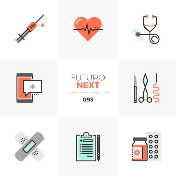 stockillustraties, clipart, cartoons en iconen met gezondheidszorg futuro volgende pictogrammen - naald chirurgisch instrument