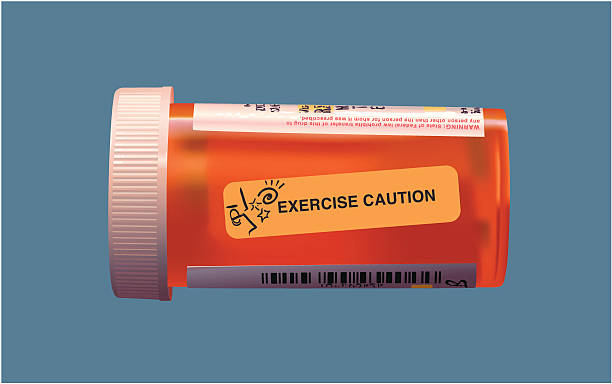 healthcare graphic prescription drug container with caution label stock vector art more images of bottle 92724639 istock