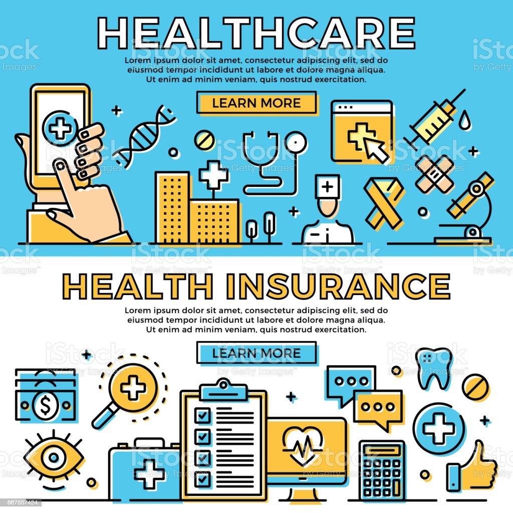 Healthcare, health insurance thin line banners set. Modern flat design art concept, line icons set. Premium quality. Vector illustration vector art illustration