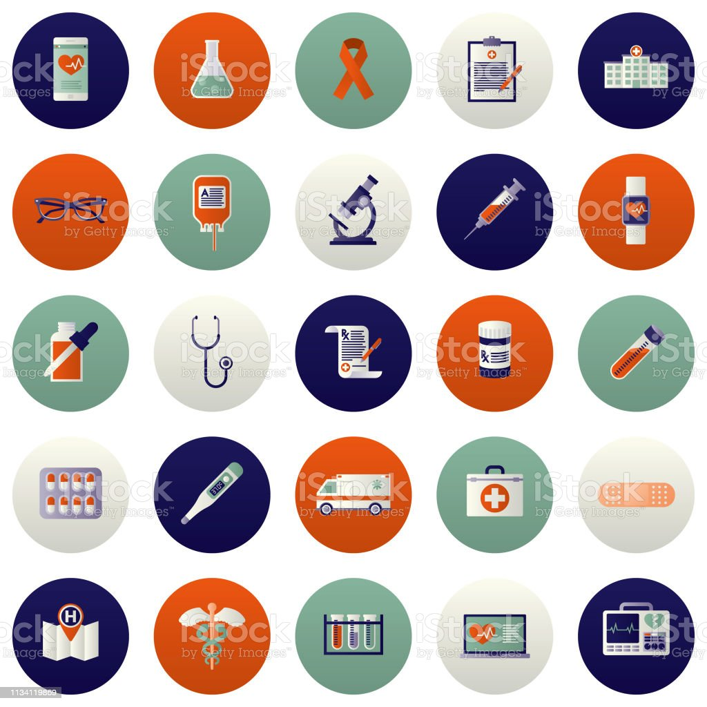 Healthcare Icon Set vector art illustration