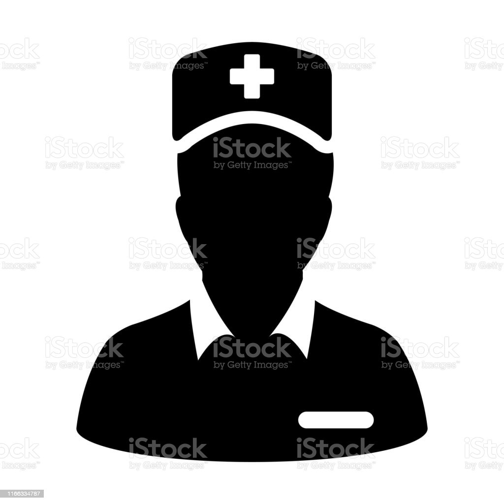 Healthcare icon vector male person profile avatar with a stethoscope...
