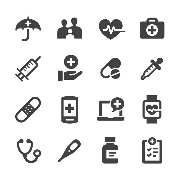 illustrazioni stock, clip art, cartoni animati e icone di tendenza di healthcare icons - acme series - farmaco