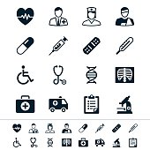 Healthcare icons in black and white