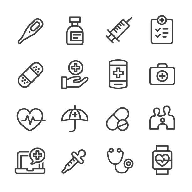 illustrazioni stock, clip art, cartoni animati e icone di tendenza di healthcare icons - line series - scheda clinica