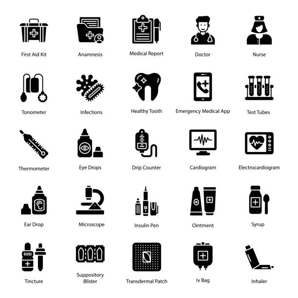 Healthcare Icons Pack Healthcare icons set in glyph vectors is best for medical and pharmaceutical related projects. Hold this medicine and pharmacy pack. medico stock illustrations