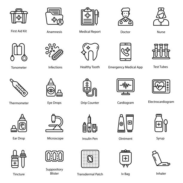 Healthcare Icons Pack Healthcare icons set in line vectors is best for medical and pharmaceutical related projects. Hold this medicine and pharmacy pack. medico stock illustrations