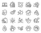istock Healthcare icons set. Included icon as Leaves, Medical help, Do not touch signs. Vector 1297096680