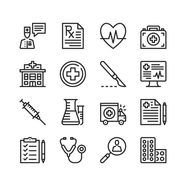 Healthcare icons set. Medicine, medical concepts. Pixel perfect. Linear, outline symbols. Thin line design. Vector line icons set vector art illustration