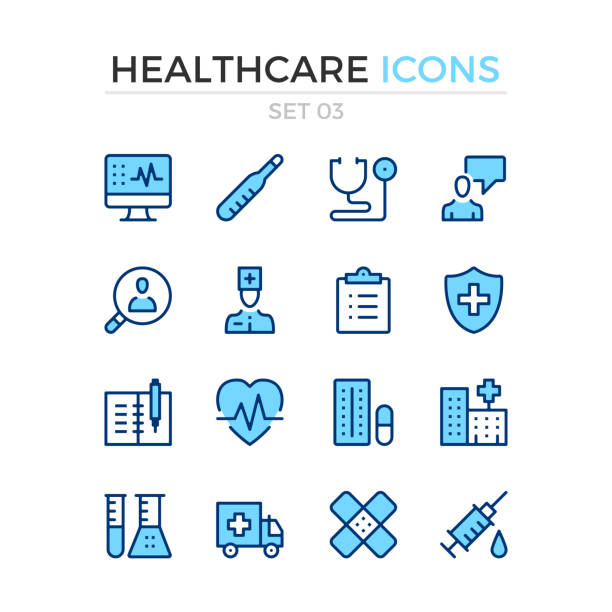 Healthcare icons. Vector line icons set. Premium quality. Simple thin line design. Stroke, linear style. Modern outline symbols, pictograms vector art illustration
