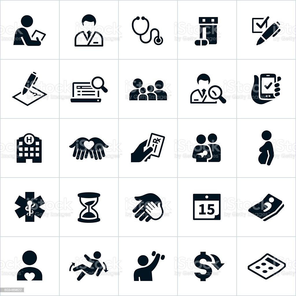 Healthcare Insurance Icons vector art illustration