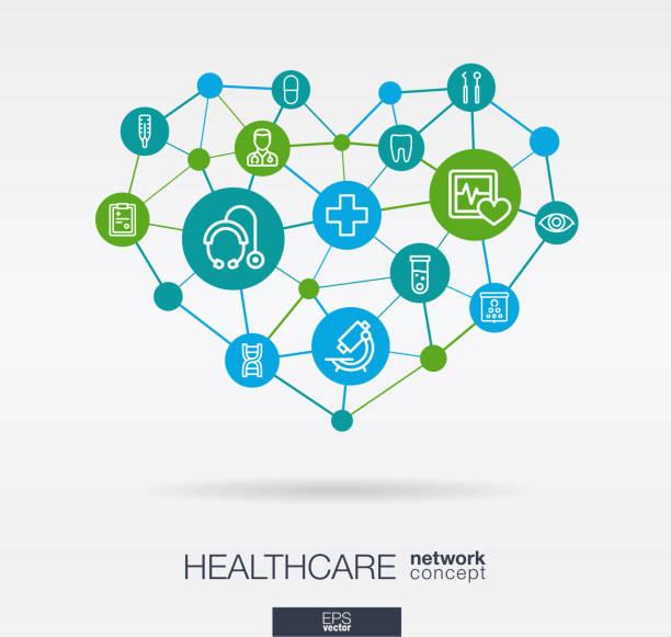 illustrazioni stock, clip art, cartoni animati e icone di tendenza di healthcare, integrated thin line icons in heart shape. digital neural network concept - prendersi cura del corpo