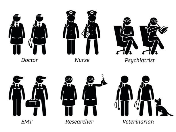 illustrazioni stock, clip art, cartoni animati e icone di tendenza di healthcare jobs, works, and occupations for women. - dottoressa