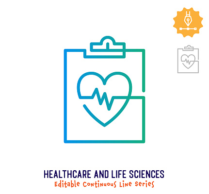 Healthcare & Life Sciences Continuous Line Editable Stroke Icon