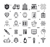 Healthcare and life sciences outline style symbols. Line vector icons set for infographics, mobile and web designs.