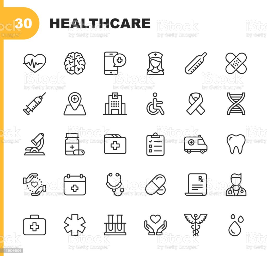 Healthcare Line Icons. Editable Stroke. Pixel Perfect. For Mobile and Web. Contains such icons as Hospital, Doctor, Nurse, Medical help, Dental - arte vettoriale royalty-free di Accudire