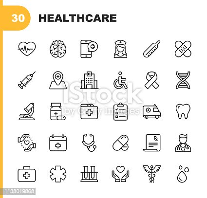 30 Healthcare Outline Icons.