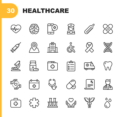 Healthcare Line Icons. Editable Stroke. Pixel Perfect. For Mobile and Web. Contains such icons as Hospital, Doctor, Nurse, Medical help, Dental clipart