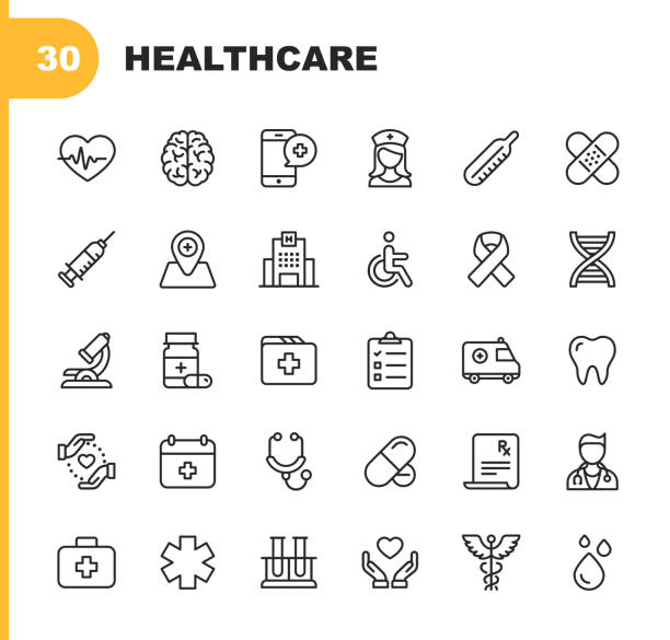 illustrazioni stock, clip art, cartoni animati e icone di tendenza di healthcare line icons. editable stroke. pixel perfect. for mobile and web. contains such icons as hospital, doctor, nurse, medical help, dental - farmaco